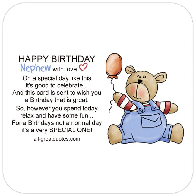 Nephew Free Birthday Cards For Facebook. Image - Cute Teddy Bear Holding Balloon Card with Nice Verse