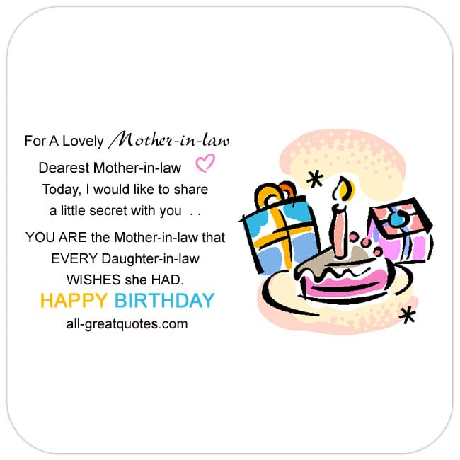 Share Facebook - Mother-in-law birthday card. Image - Nice cake, candles and birthday gift picture. Lovely Mother-in-law birthday message.