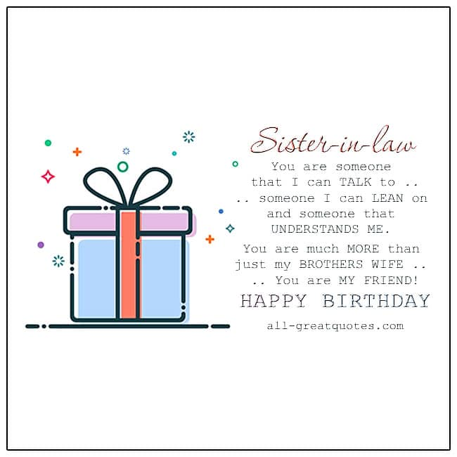 Sister-in-law You Are Someone That I Can Talk To Birthday Gift Vector Card