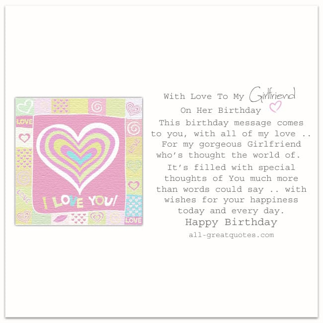 Free Cute I Love You Girlfriend Heart Card For Facebook Birthday Wishes