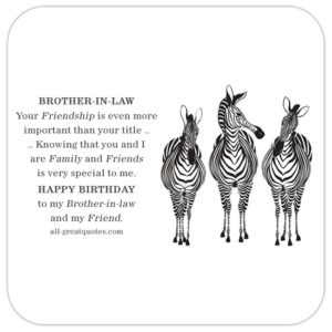 Brother-in-law and friend free brithday card with zebras.
