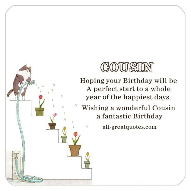 Cute Free Cousin Birthday Card, Cat Watering Pot Plants