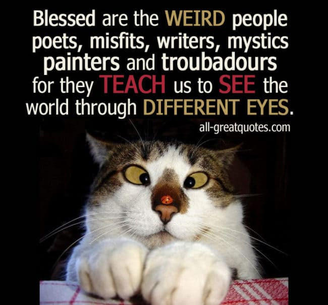 Blessed are the WEIRD people poets, misfits, writers picture quotes