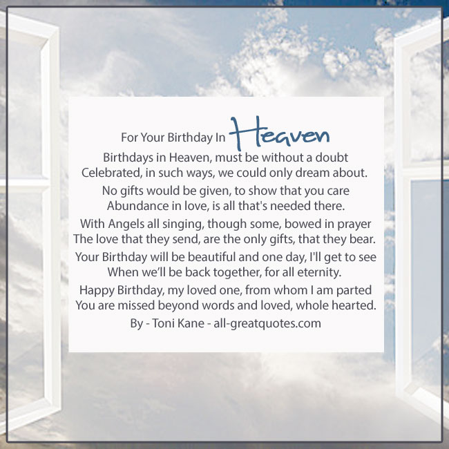 Birthdays In Heaven Poem By Toni. Kane Window To Heaven Image