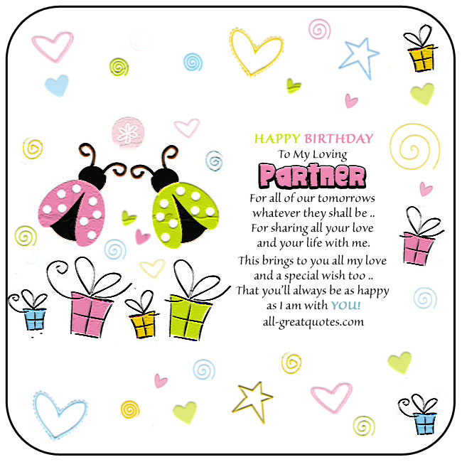 Partner Free Birthday Card For Facebook. Image - two cute colorful ladybugs surrounded by bright colored stars hearts swirls. Loving verse included.