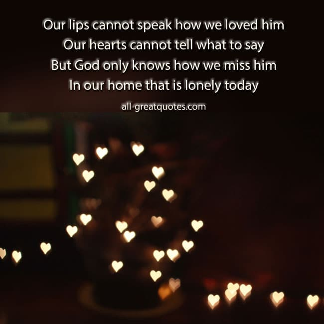Free In Loving Memory Cards Our lips cannot speak how we loved him