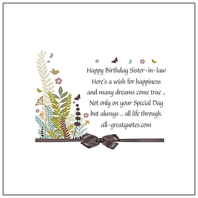 Happy Birthday Sister-In-law Beautiful Sister-In-law Birthday Card With Flower And Butterfly