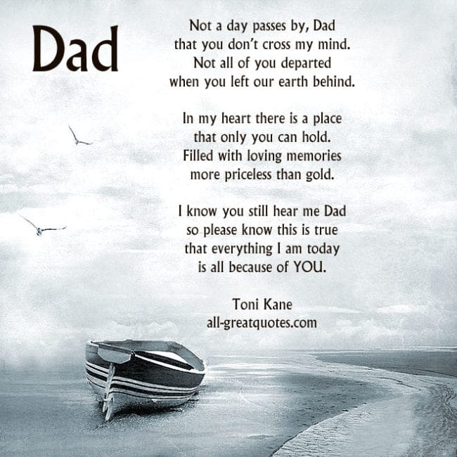 In Loving Memory Cards For Dad