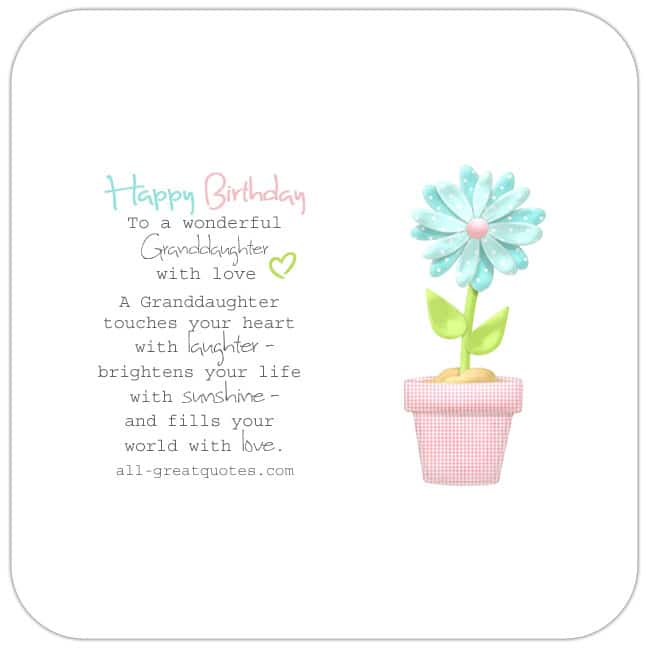 Very Cute Single Pink Green Flower Pot Free Birthday Card For Granddaughter Reads