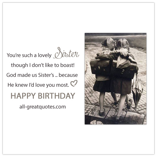Share Facebook Cute Sister Birthday Card. Image vintage sisters walking with arm around each other.