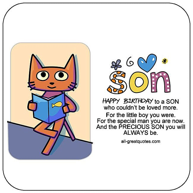 Free Birthday Cards For Son Happy Card