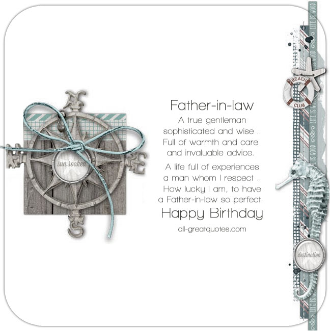 Happy Birthday Father-in-law Share Free Cards For Facebook Nautical themed card.