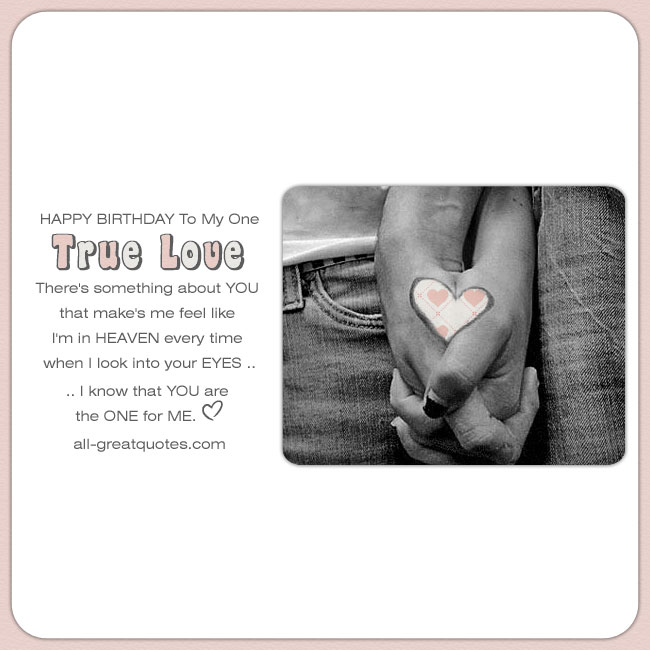Sweet birthday card for my one true love. Image - Couple holding hands love heart on both hands
