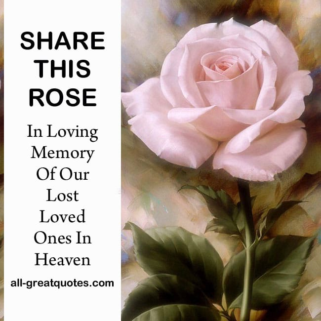 Share This Rose .. In Loving Memory Of Our Lost Loved Ones In Heaven