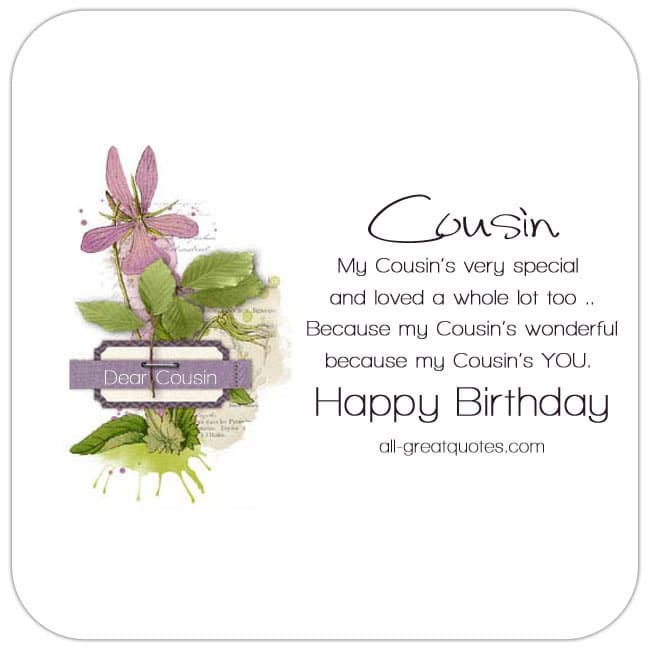 Nice cousin birthday card - with pretty pink flower - cute cousin verse