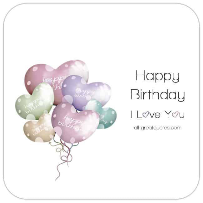Happy Birthday. I Love You Card. - Image Bunch of pastel heart balloons. Share Free On Facebook