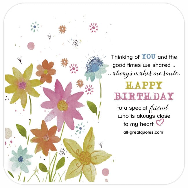 Happy birthday to a special friend very cute free friend birthday friend birthday card with bright colorful flowers bookmarktalkfo Gallery
