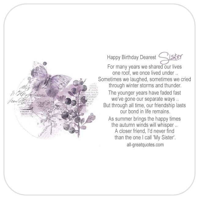 Nice Sister Birthday Card To Share On Facebook. Image - Purple Butterfly and Berries Card. Reads - Happy Birthday Dearest Sister