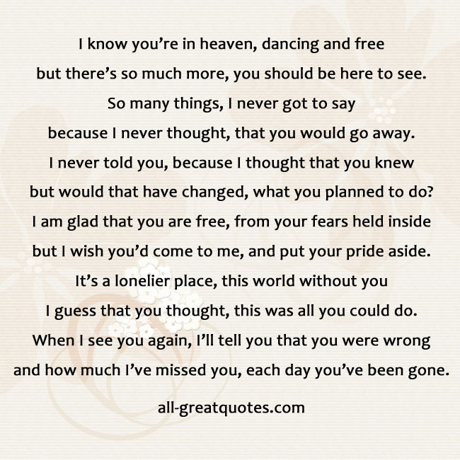 I know you're in heaven, dancing and free suicide poem