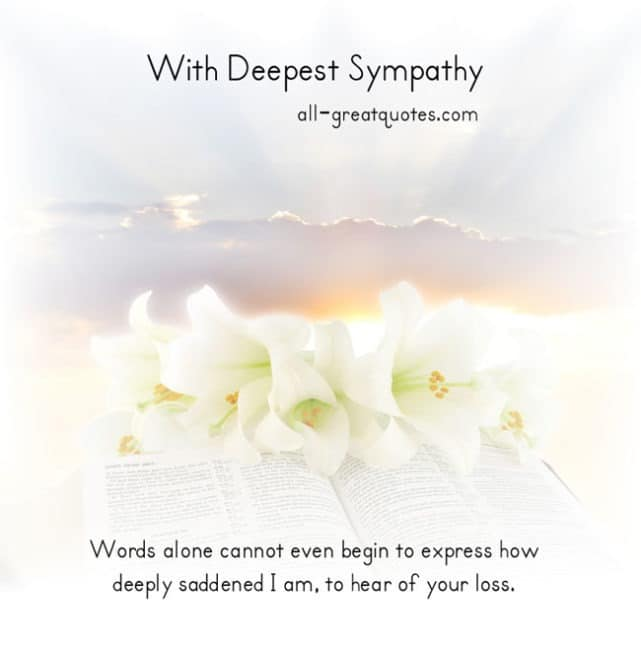 unexpected death sympathy quotes