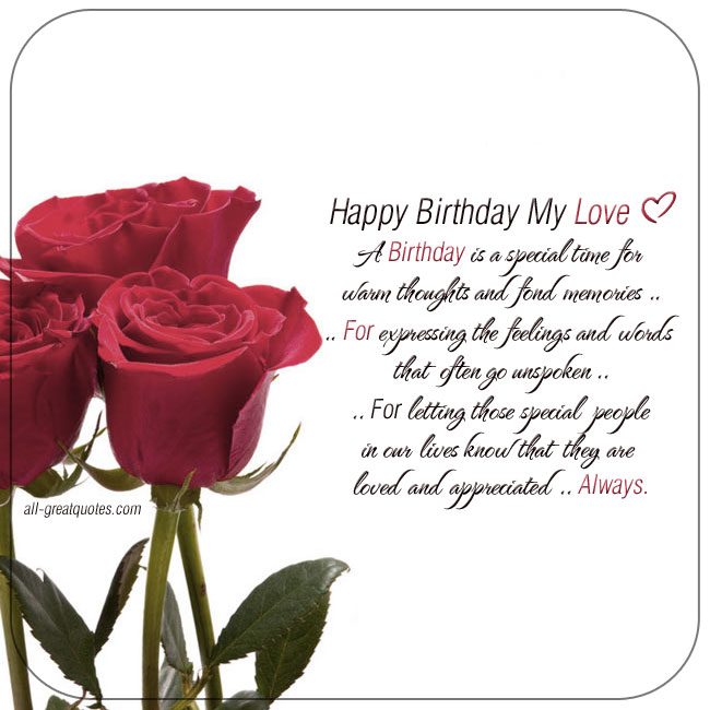 Happy Birthday My Love Romantic Cards For Facebook