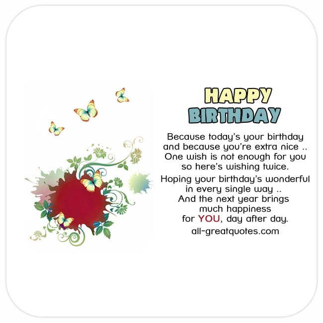 Because today's your birthday, Vector Birthday Card with Butterflies