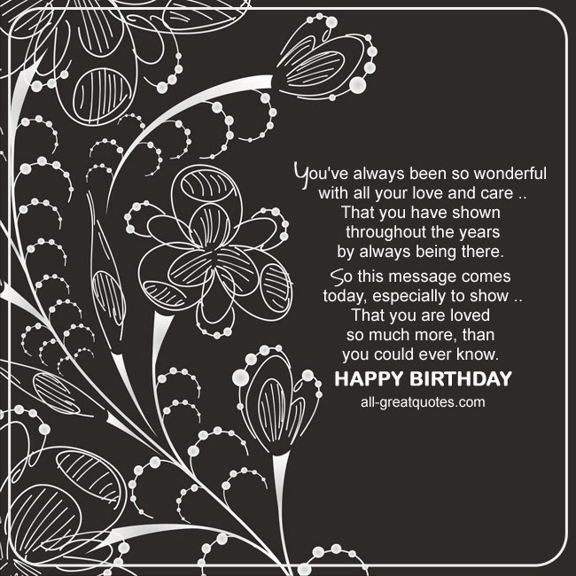 Happy Birthday Card. Lovely Caring Verse. Abstract Flower Image
