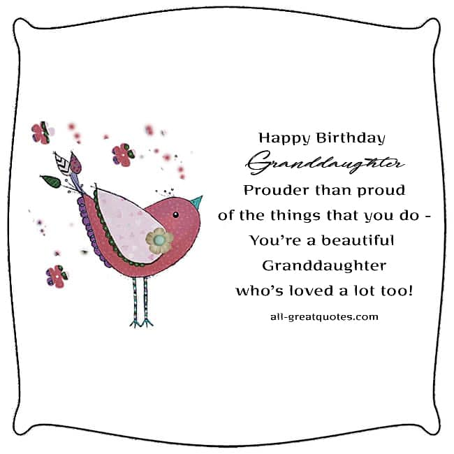 Sweet Granddaughter Birthday Card. Image - Colored vector bird. Nice Granddaughter verse.