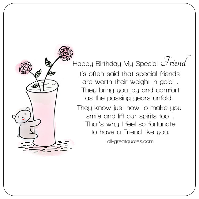 Free Birthday Card With Cute Bear Vase Flowers For Friends. Card Reads - Happy Birthday My Special Friend. Nice Verse Follows