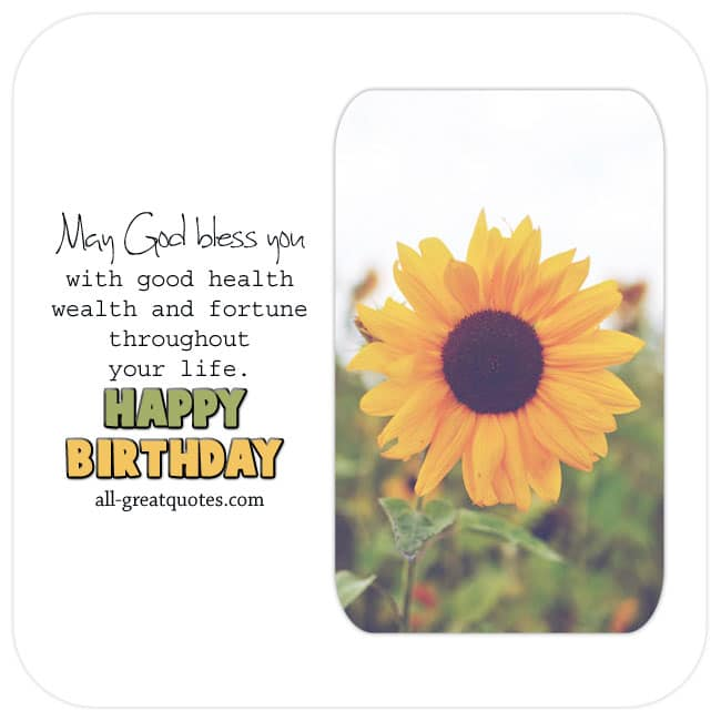 Pretty Sunflower Free Birthday Card With Nice Verse To Share Online Facebook