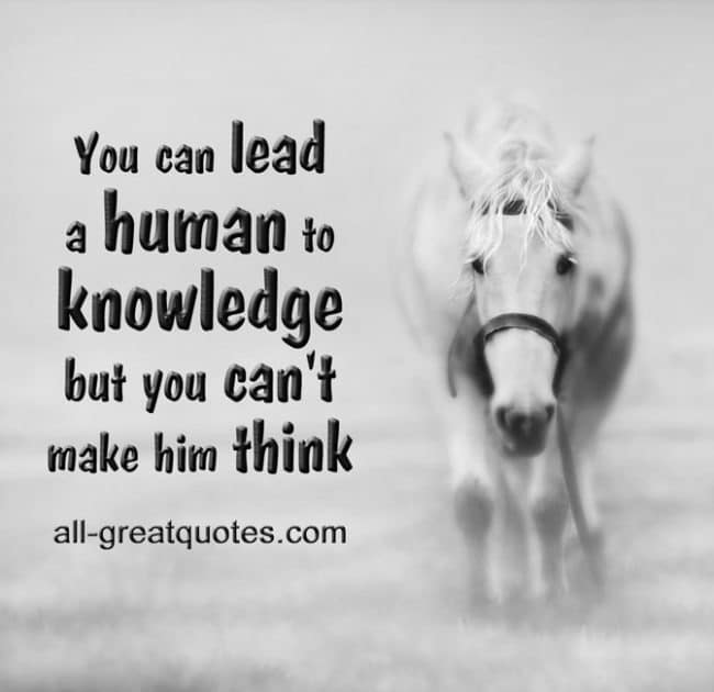 You can lead a human to knowledge but you can't make him think.