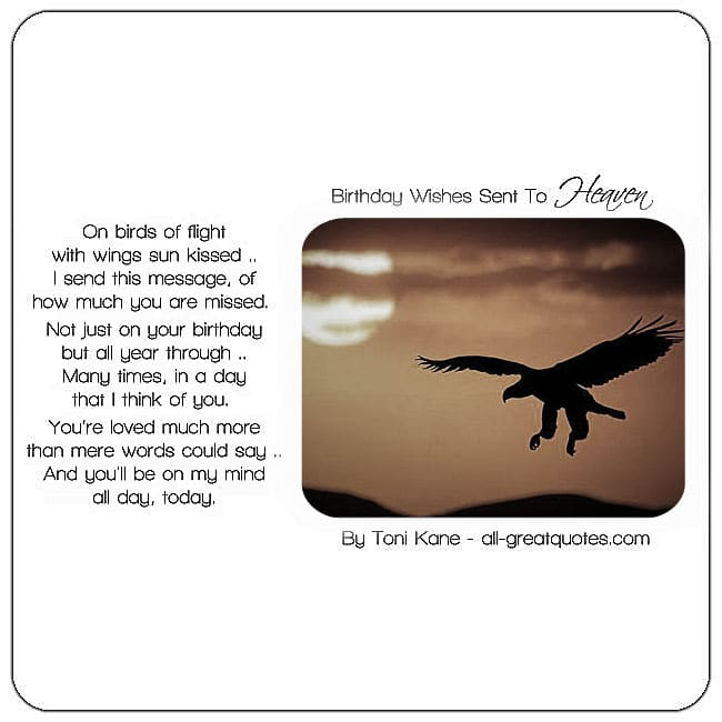 Heavenly Birthday wishes card. Image - Eagle in flight. Birthday In Heaven Poem - By Toni Kane