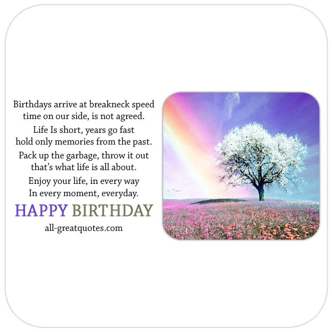 Nice free birthday card with tree and rainbow to share online Facebook