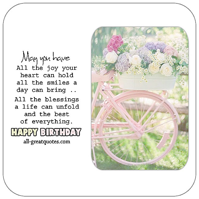 May you have all the joy your heart can hold. Pink bicycle with flowers