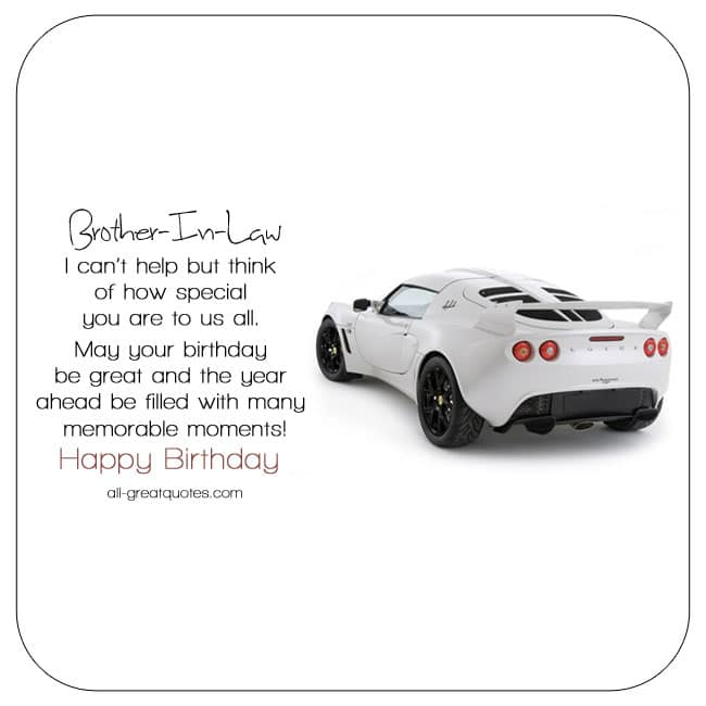 Brother-in-law Birthday Card. Image - White Lotus Car. Nice Brother-in-law birthday verse.