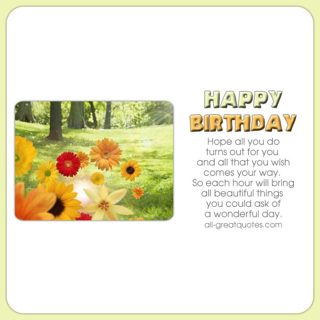 Free birthday cards for facebook. Pretty flower card with nice short birthday verse.