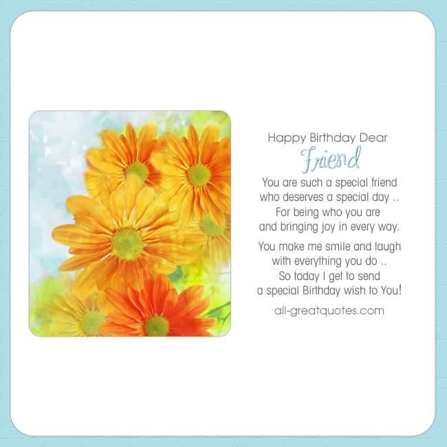 Happy Birthday Dear Friend Birthday Card Flowers