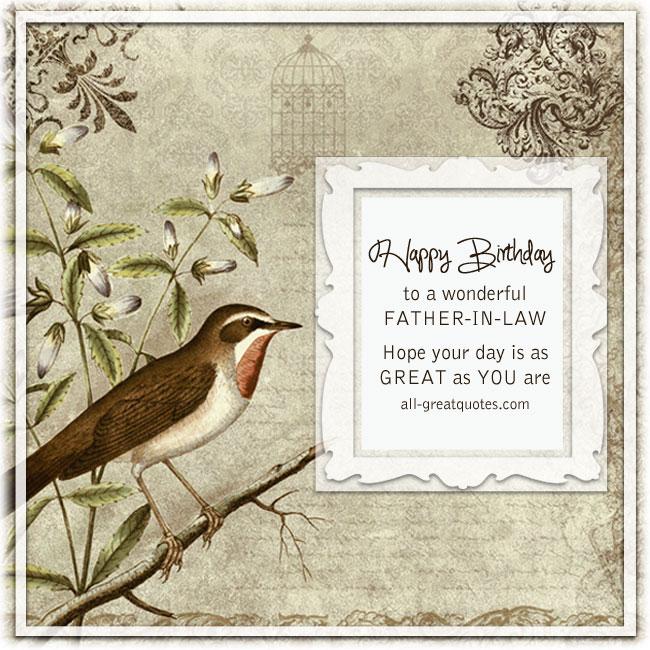 Happy Birthday To A Wonderful Father-In-Law Bird Birthday Card