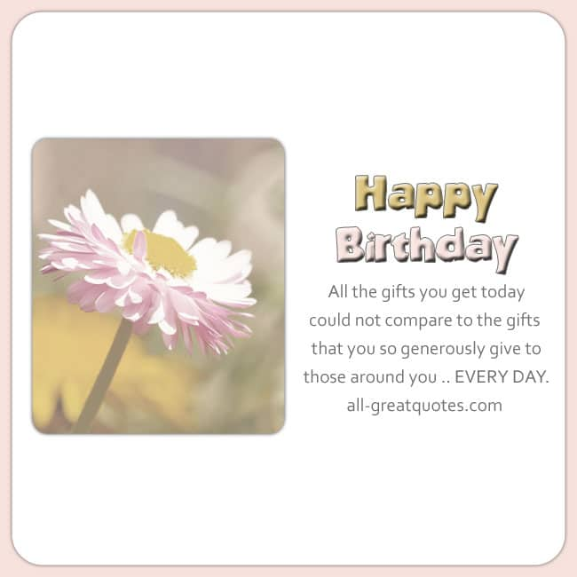Pretty Pink Yellow flower card image. Nice birthday message.