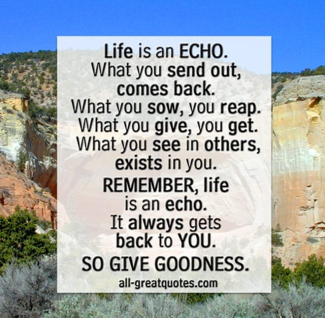 Life is an echo. What you send out, comes back