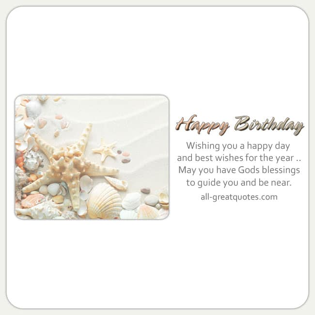Birthday Card With NIce Verse. Reads - Wishing you a happy day and best wishes for the year. Image - Beach theme
