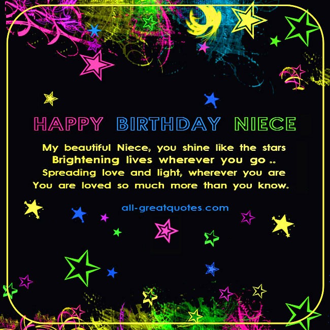 Very sweet birthday card for Niece. Black background, bright colored stars. Lovely Niece Birthday Verse
