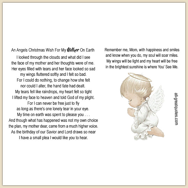 An Angels Christmas Wish For My Mother On Earth