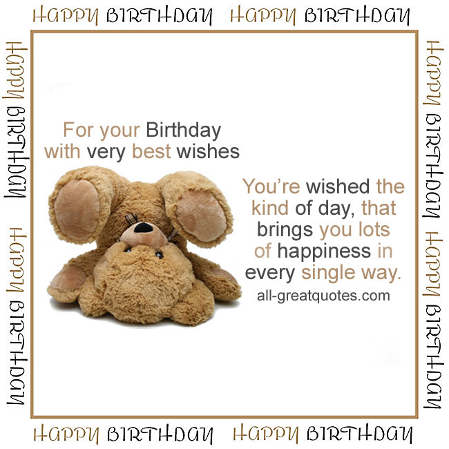 For Your Birthday With Very Best Wishes Cute Upsidedown Teddy Bear
