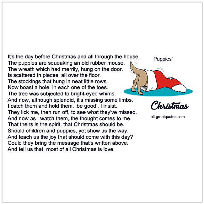 Puppies Christmas Poems For Christmas