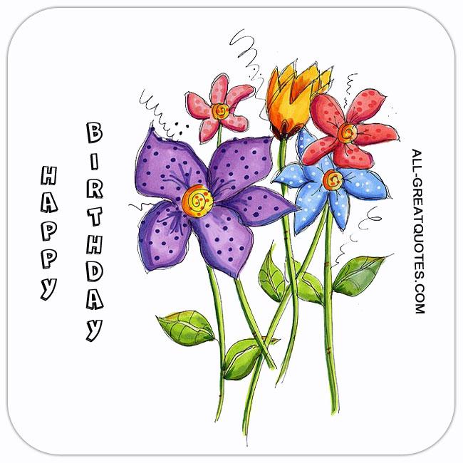 happy birthday free birthday card with flowers