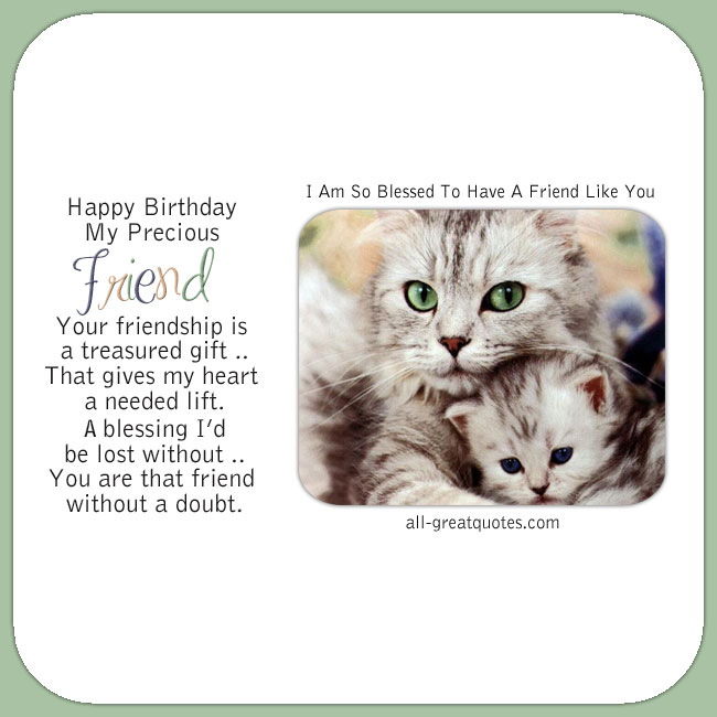 Happy Birthday Precious Friend Cute Cats Birthday Card
