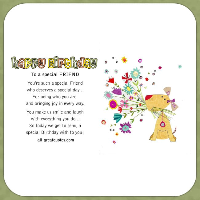 Happy Birthday To A Special Friend Friend Birthday Cards Facebook