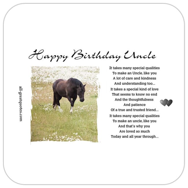 Happy Birthday To An Awesome UNCLE Free Birthday Card For Facebook For Uncle. Horse Image and Message