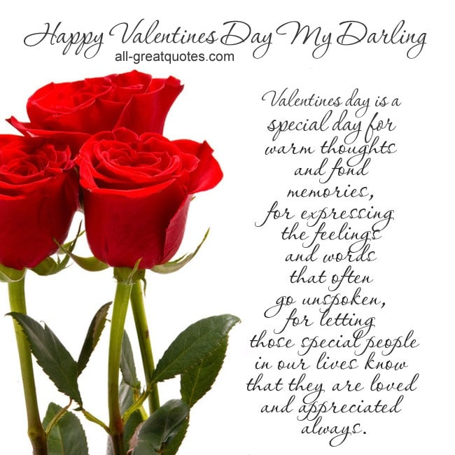 Happy Valentines Day My Darling Free Valentines Cards – Free Valentine Cards for Facebook